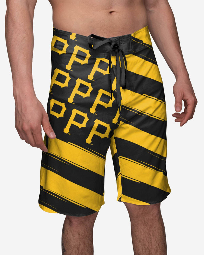 Pittsburgh Pirates Diagonal Flag Boardshorts FOCO S - FOCO.com
