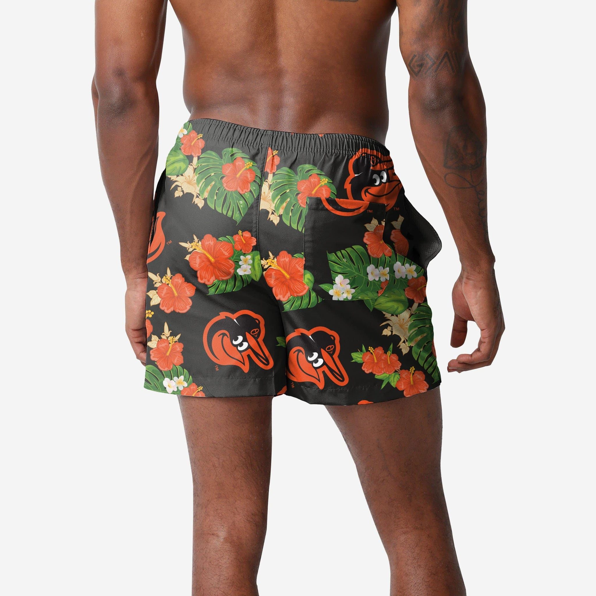 Baltimore Orioles Floral Swimming Trunks