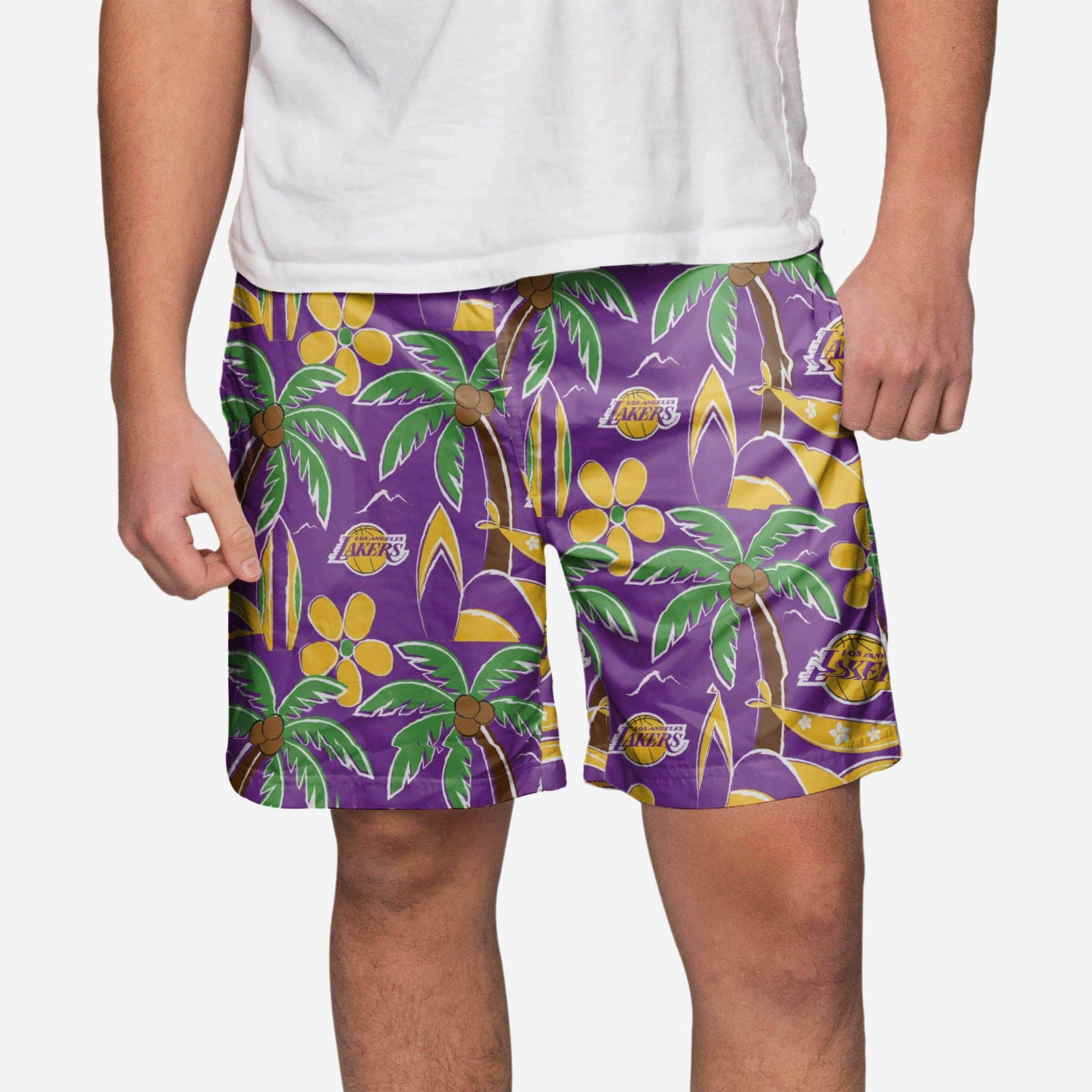 5ac6a6677175e Los Angeles Lakers Tropical Swimming Trunks FOCO.com