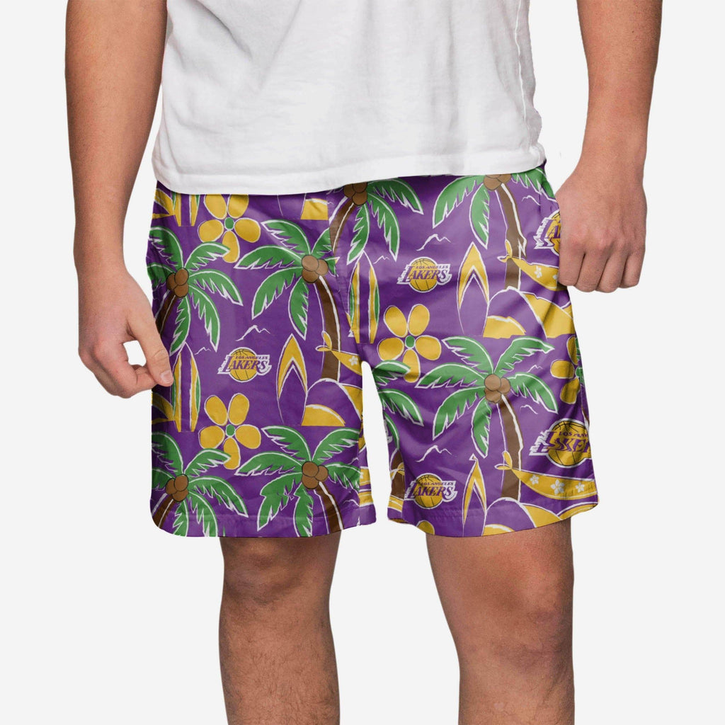 Los Angeles Lakers Tropical Swimming Trunks FOCO - FOCO.com