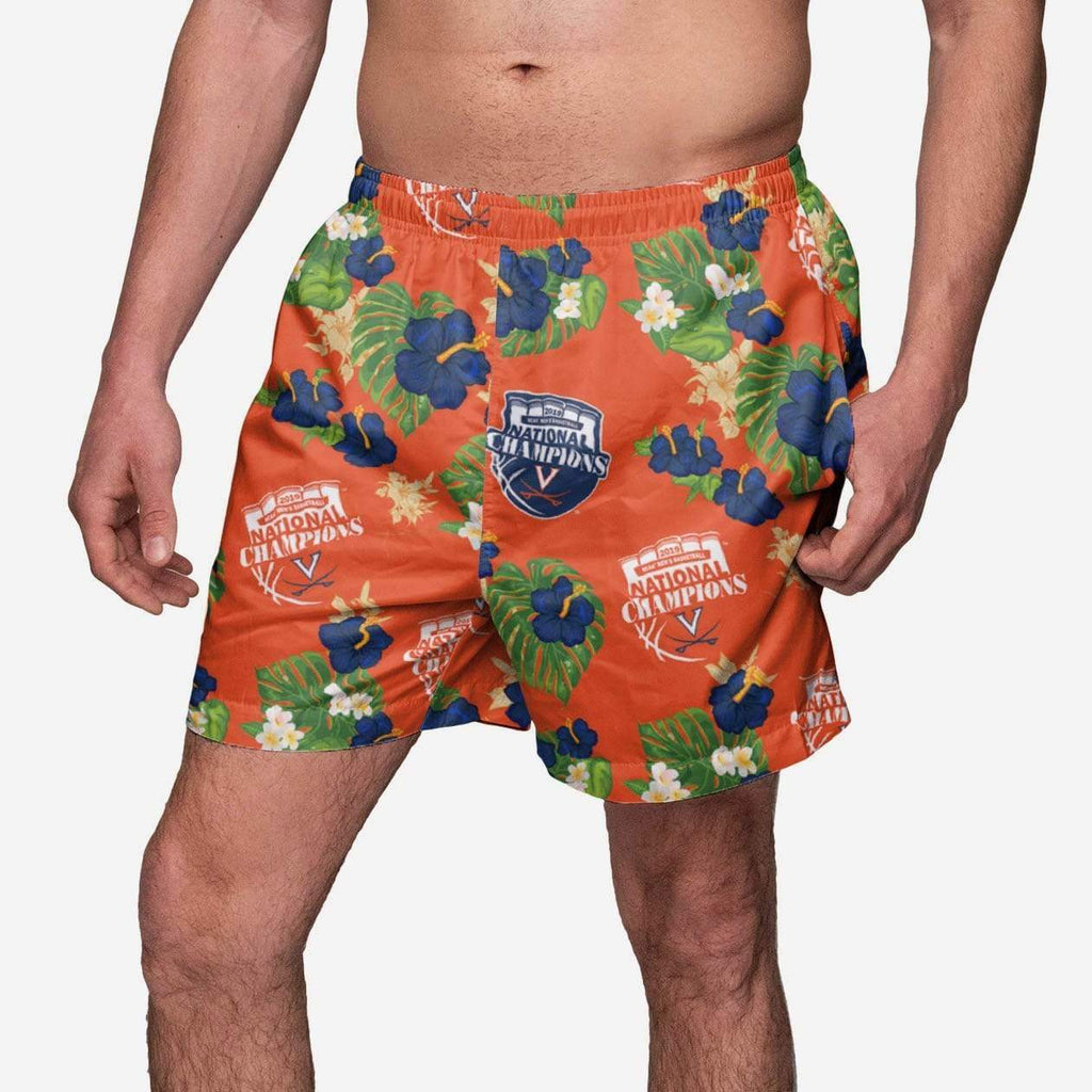 Virginia Cavaliers 2019 NCAA Mens Basketball National Champions Floral Swimming Trunks FOCO S - FOCO.com
