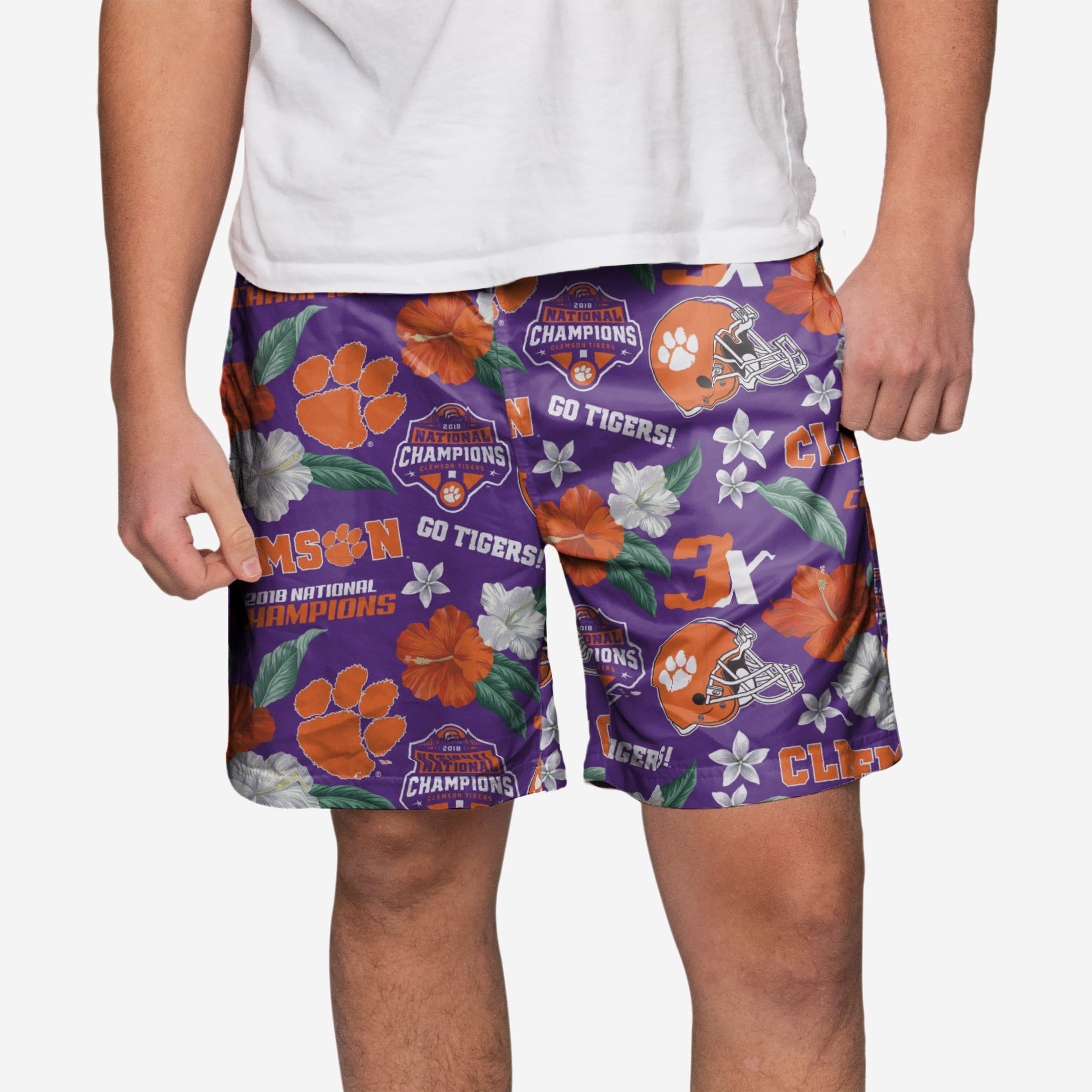 39bb3971c6e27 Clemson Tigers 2018 Football National Champions Floral Swimming Trunks  FOCO.com