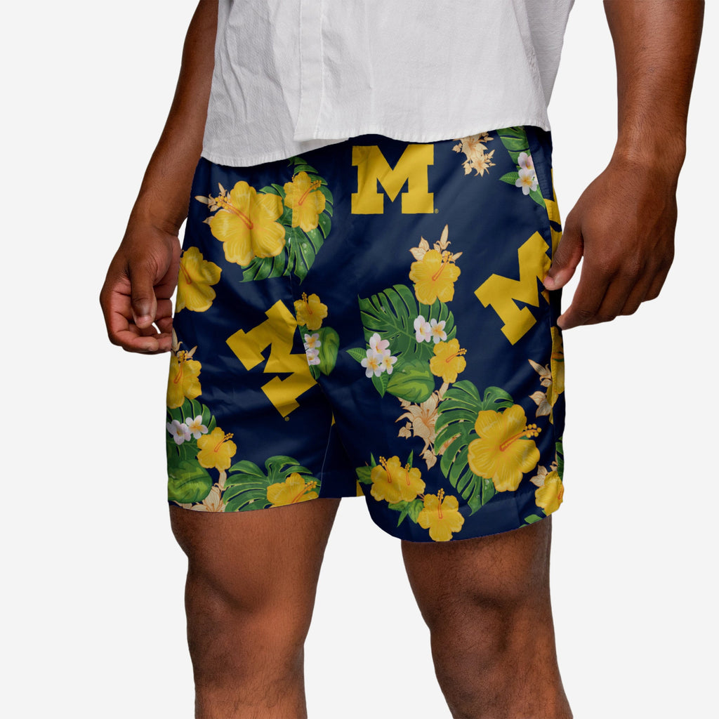 Michigan Wolverines Floral Swimming Trunks