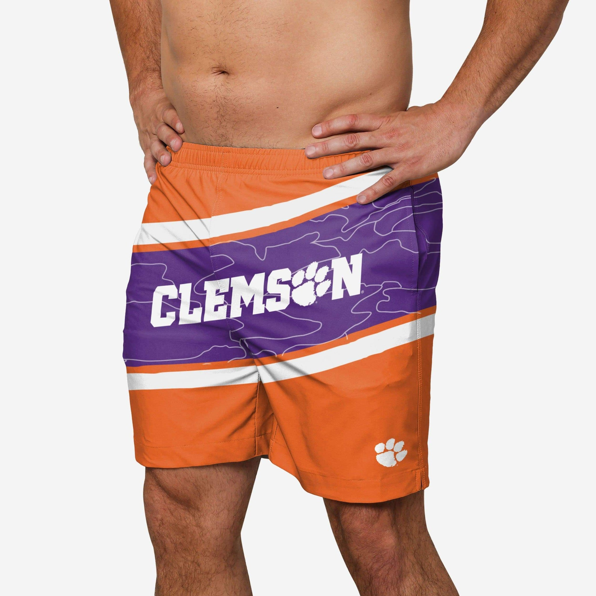 Clemson Tigers Big Wordmark Swimming Trunks FOCO - FOCO.com
