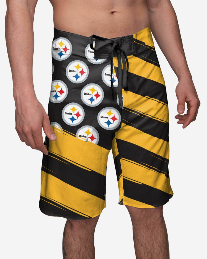 Pittsburgh Steelers Diagonal Flag Boardshorts FOCO S - FOCO.com
