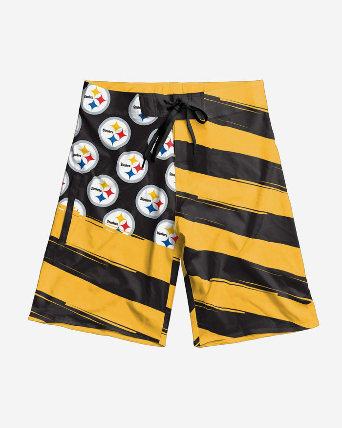 Pittsburgh Steelers Diagonal Flag Boardshorts FOCO - FOCO.com