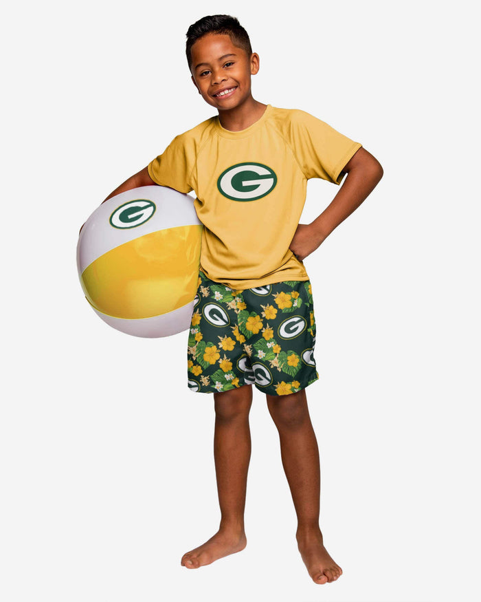 Green Bay Packers Boys Floral Swimming Trunks FOCO - FOCO.com