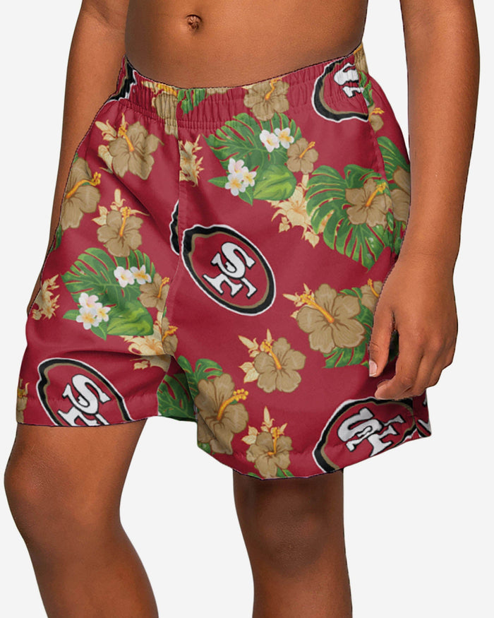 San Francisco 49ers Boys Floral Swimming Trunks FOCO 4 - FOCO.com