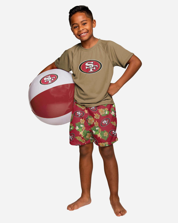 San Francisco 49ers Boys Floral Swimming Trunks FOCO - FOCO.com