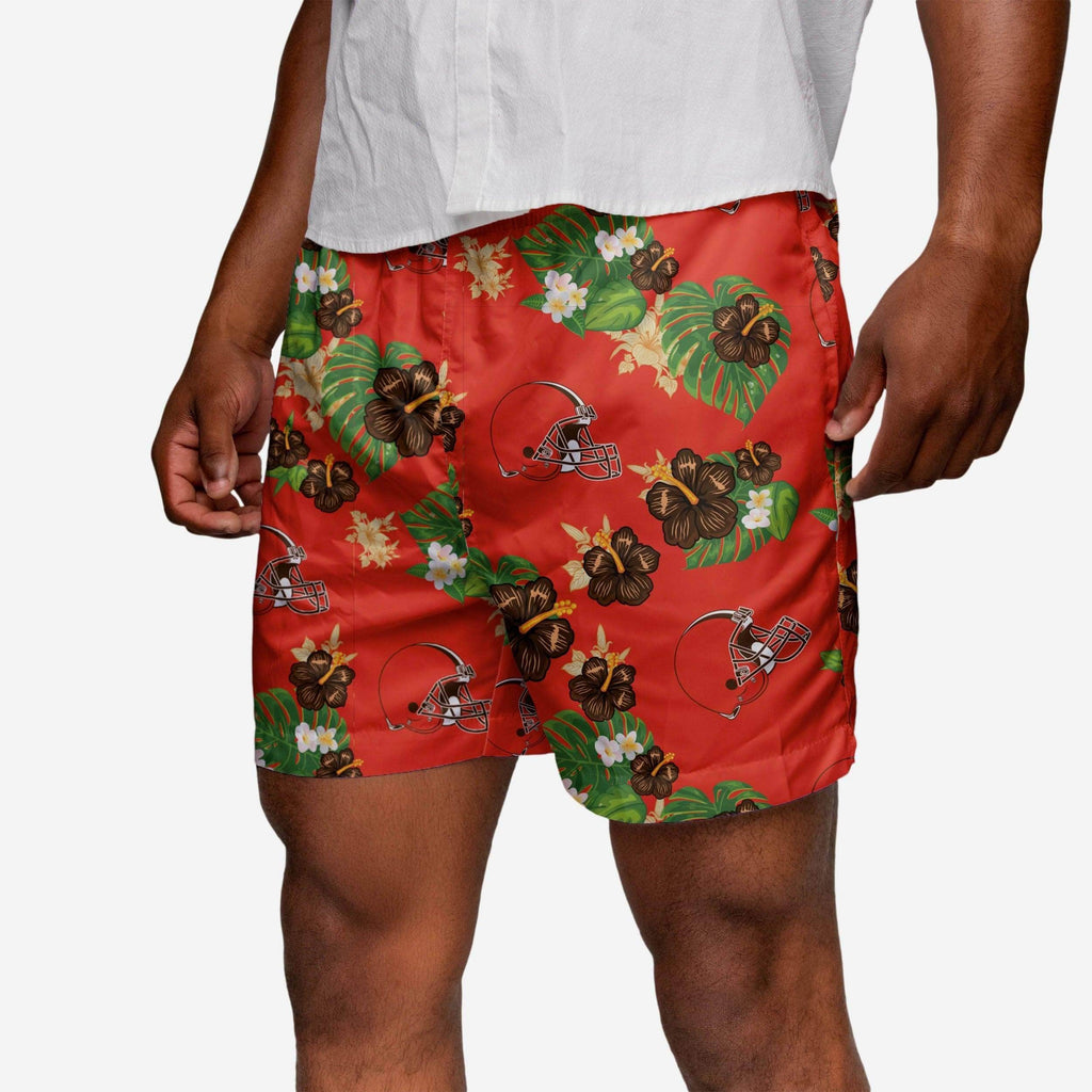 Cleveland Browns Floral Swimming Trunks FOCO - FOCO.com