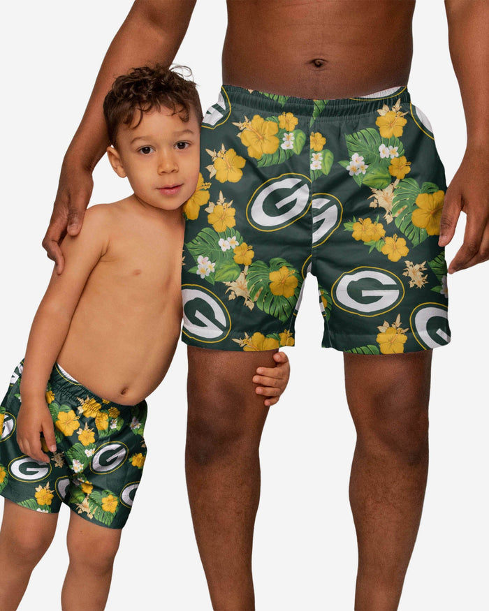 Green Bay Packers Toddler Floral Swimming Trunks FOCO - FOCO.com
