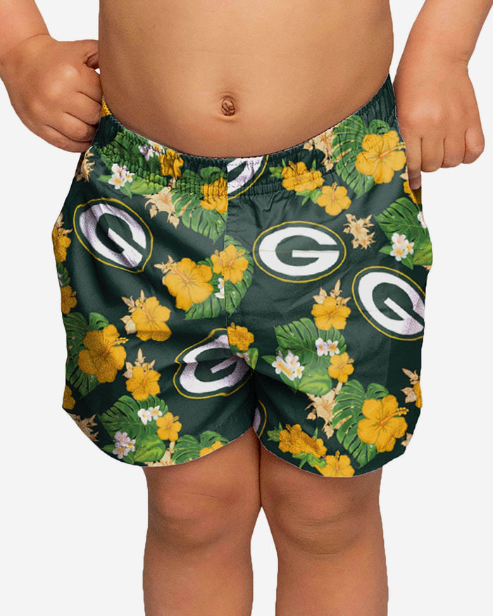 Green Bay Packers Toddler Floral Swimming Trunks FOCO 2T - FOCO.com