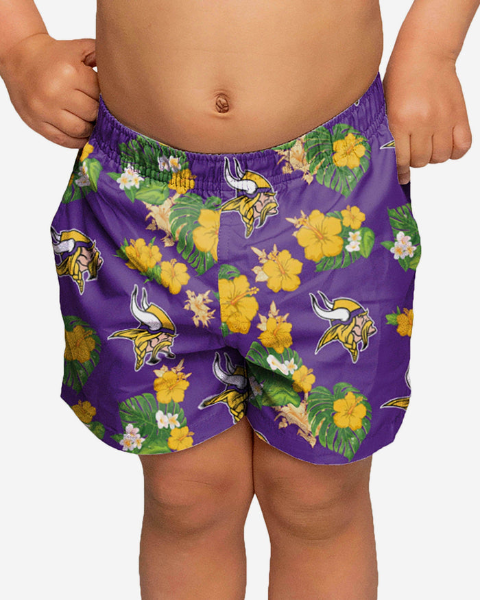Minnesota Vikings Toddler Floral Swimming Trunks FOCO 2T - FOCO.com
