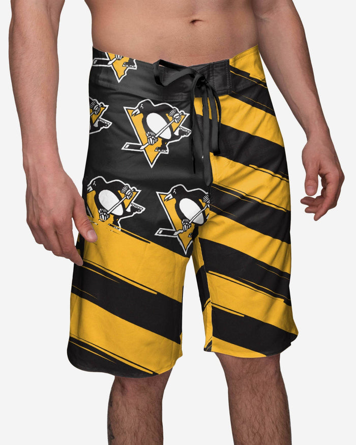 Pittsburgh Penguins Diagonal Flag Boardshorts FOCO S - FOCO.com