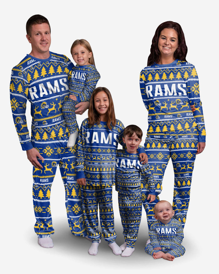 Los Angeles Rams Youth Family Holiday Pajamas FOCO - FOCO.com