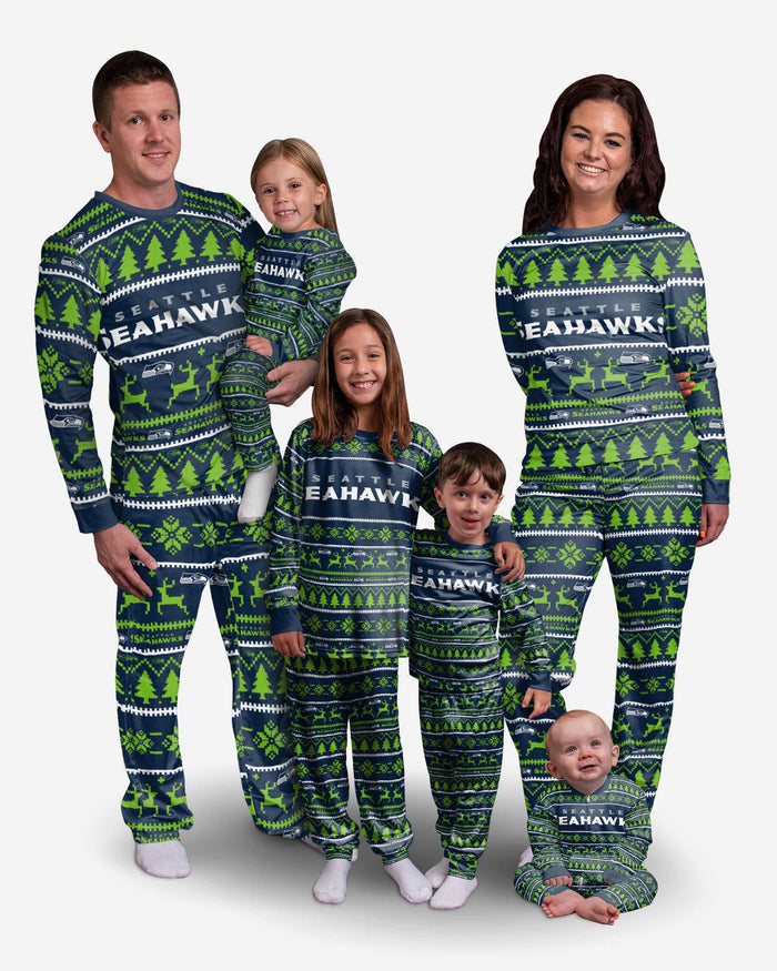 Seattle Seahawks Youth Family Holiday Pajamas FOCO - FOCO.com