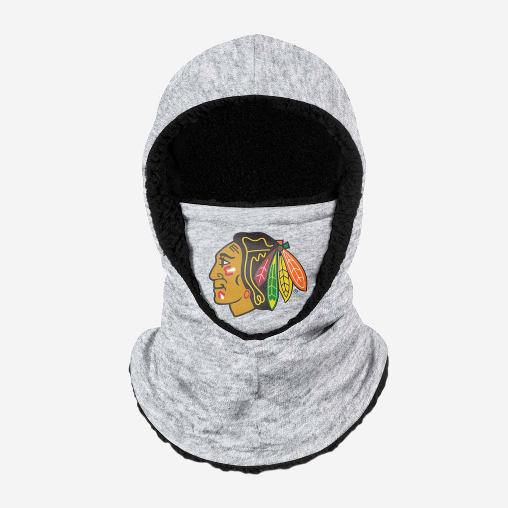 Chicago Blackhawks Heather Grey Big Logo Hooded Gaiter FOCO - FOCO.com