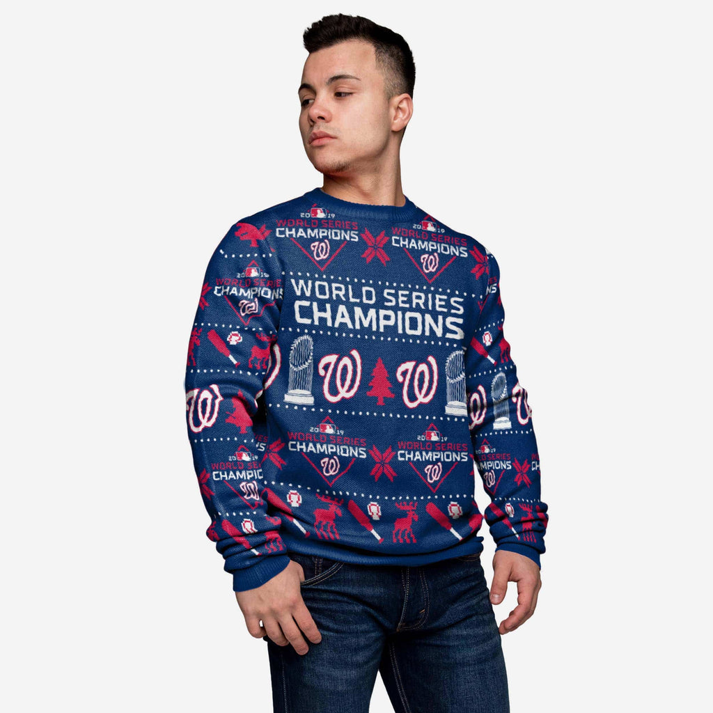 Washington Nationals 2019 World Series Champions Blue Sweater FOCO S - FOCO.com
