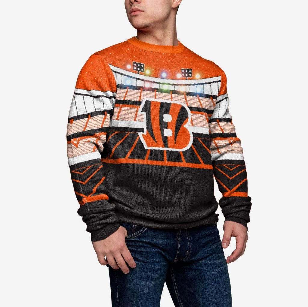 Cincinnati Bengals Light Up Bluetooth Sweater FOCO L - FOCO.com