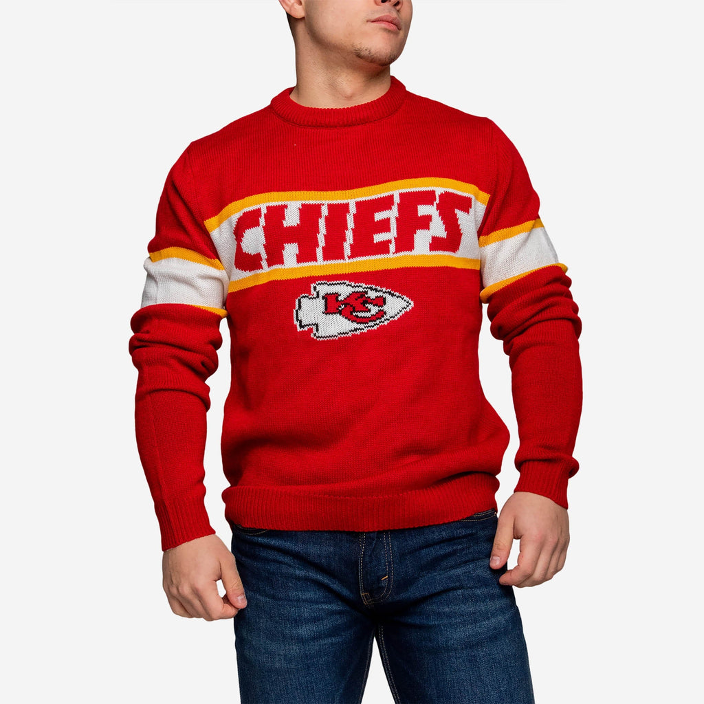 Kansas City Chiefs Vintage Stripe Sweater FOCO - FOCO.com