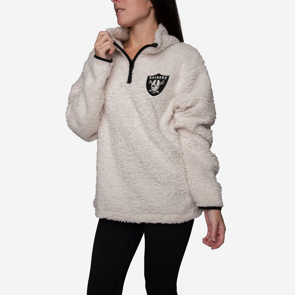Oakland Raiders Womens Quarter Zip Sherpa Sweater