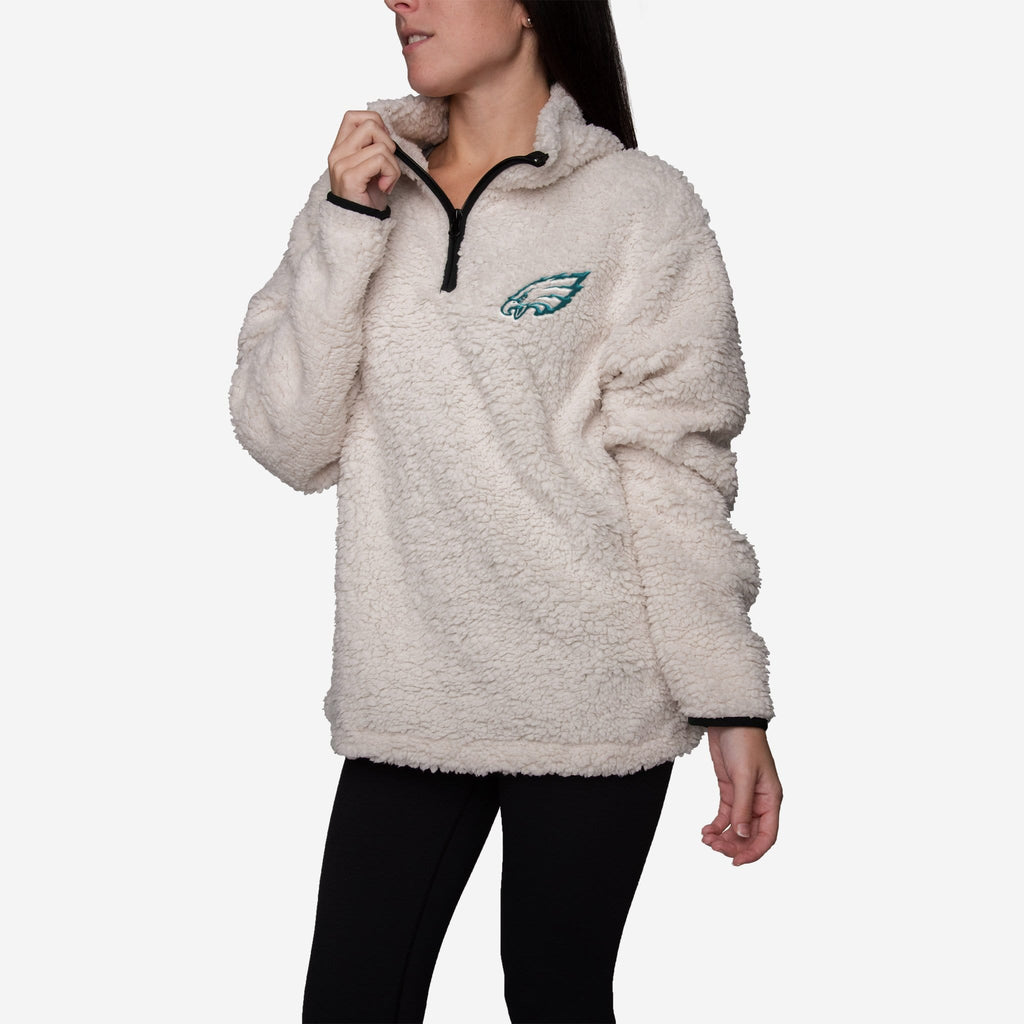 Philadelphia Eagles Womens Quarter Zip Sherpa Sweater
