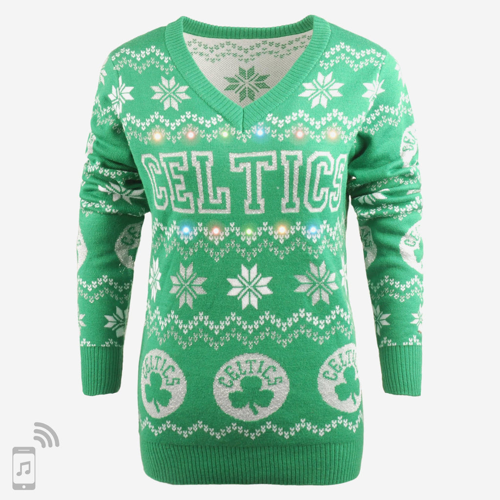 Boston Celtics Womens Light Up V-Neck Bluetooth Sweater