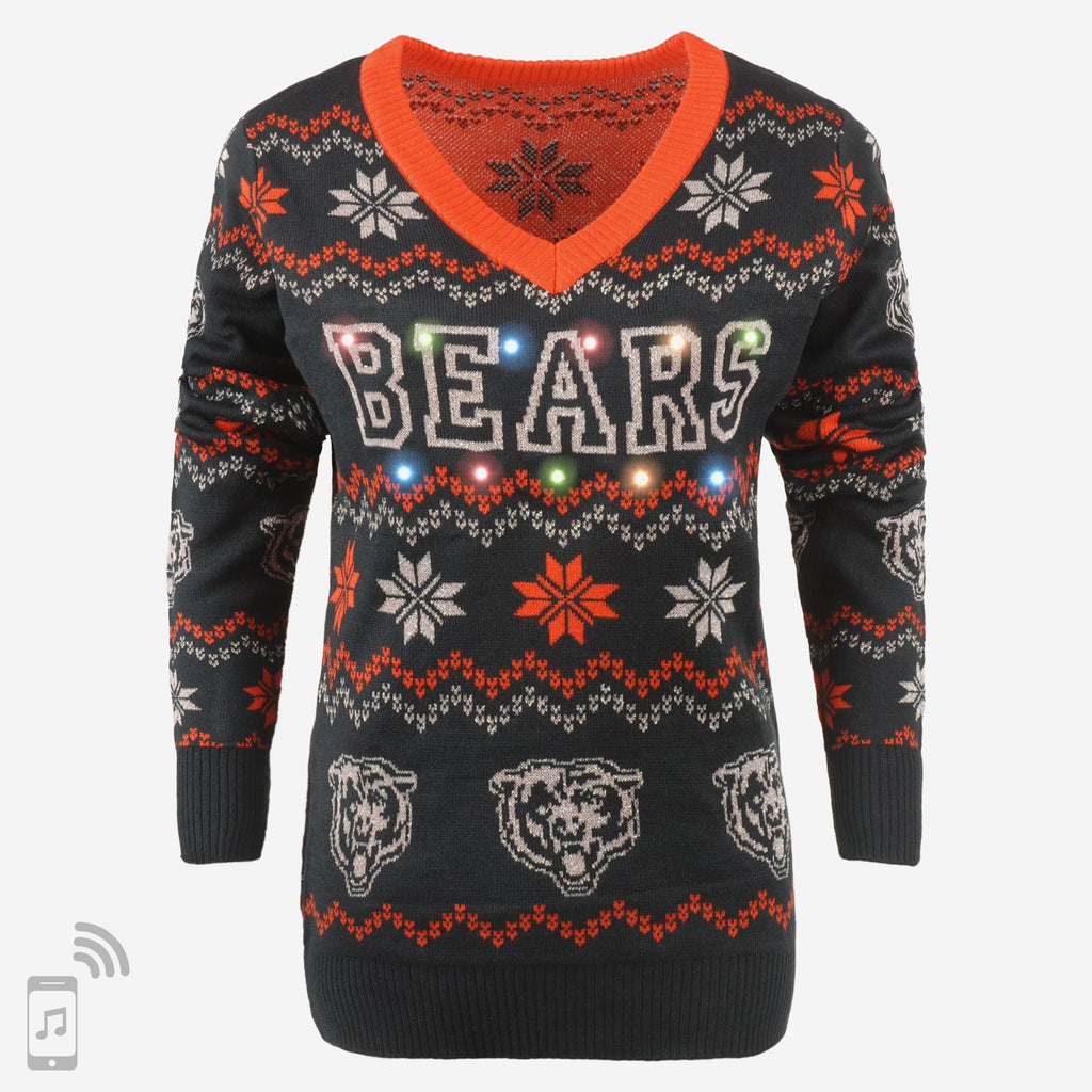 Chicago Bears Womens Light Up V-Neck Bluetooth Sweater