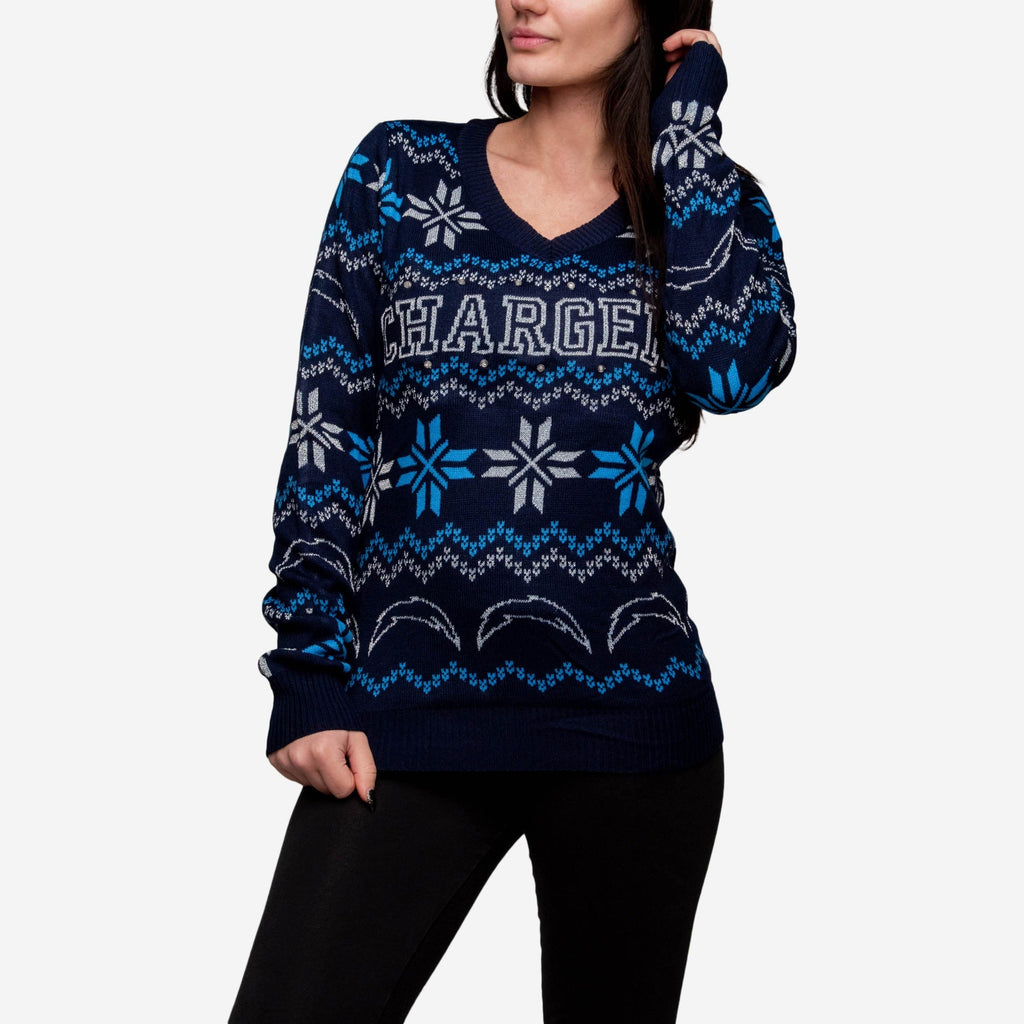 Los Angeles Chargers Womens Light Up V-Neck Bluetooth Sweater FOCO - FOCO.com