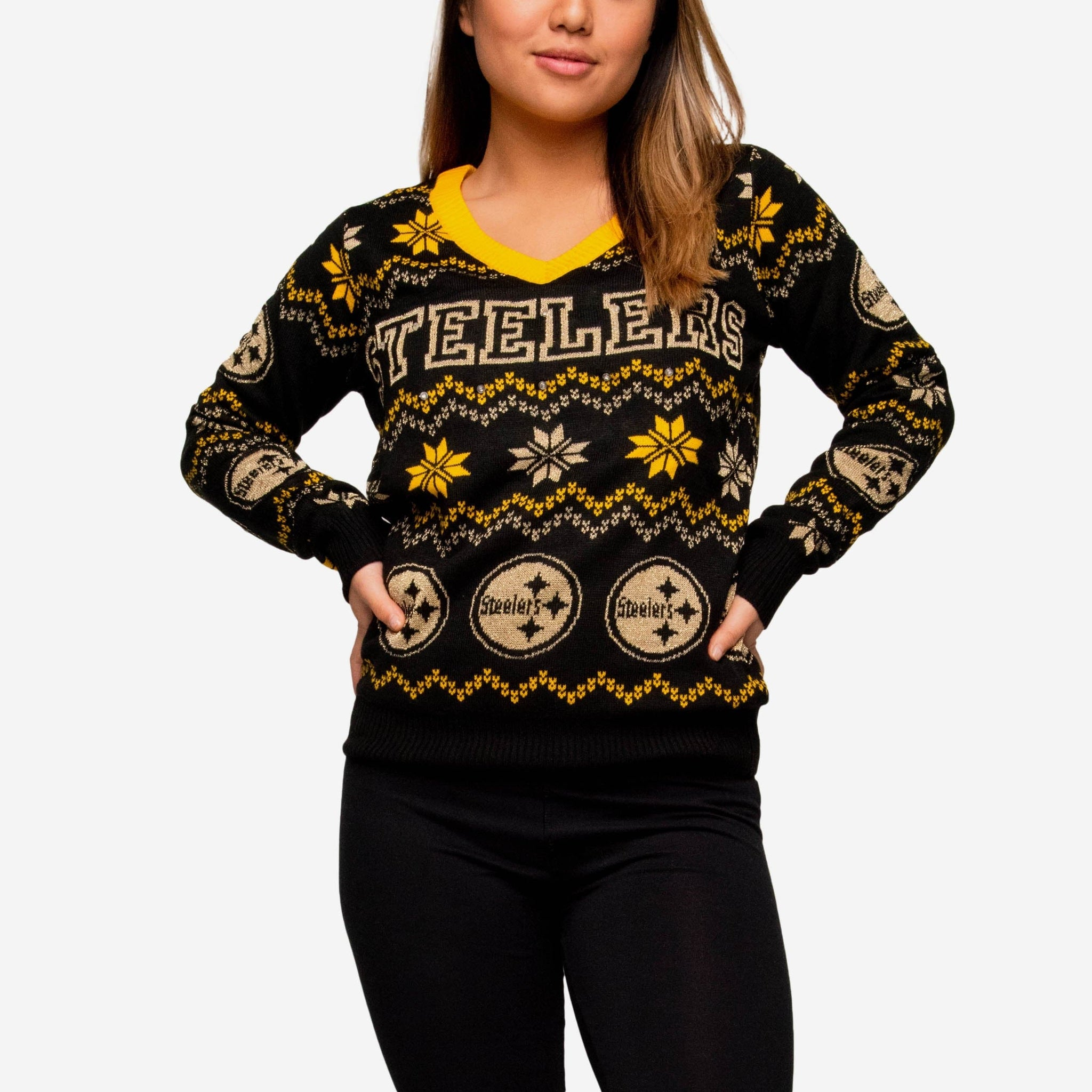 Pittsburgh Steelers Womens Light Up V-Neck Bluetooth Sweater FOCO - FOCO.com 126429a6d