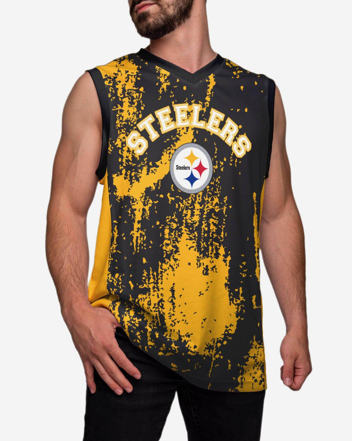 Pittsburgh Steelers Mesh V-Neck Jersey Tank Top FOCO M - FOCO.com
