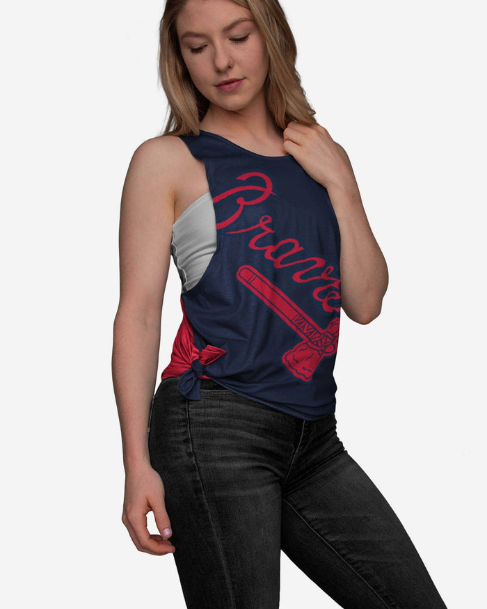 Atlanta Braves Womens Side-Tie Sleeveless Top FOCO S - FOCO.com