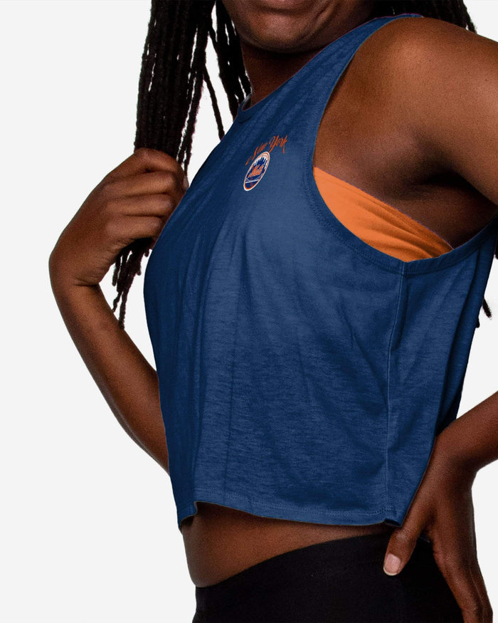 New York Mets Womens Croppin' It Sleeveless Top FOCO - FOCO.com