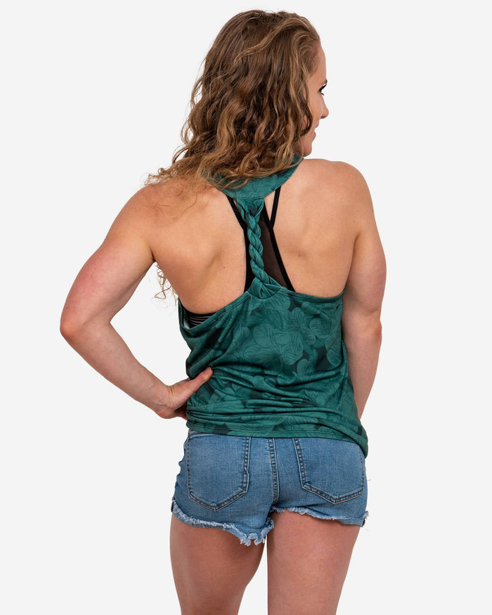 Green Bay Packers Womens Hibiscus Twist Back Sleeveless Top FOCO - FOCO.com
