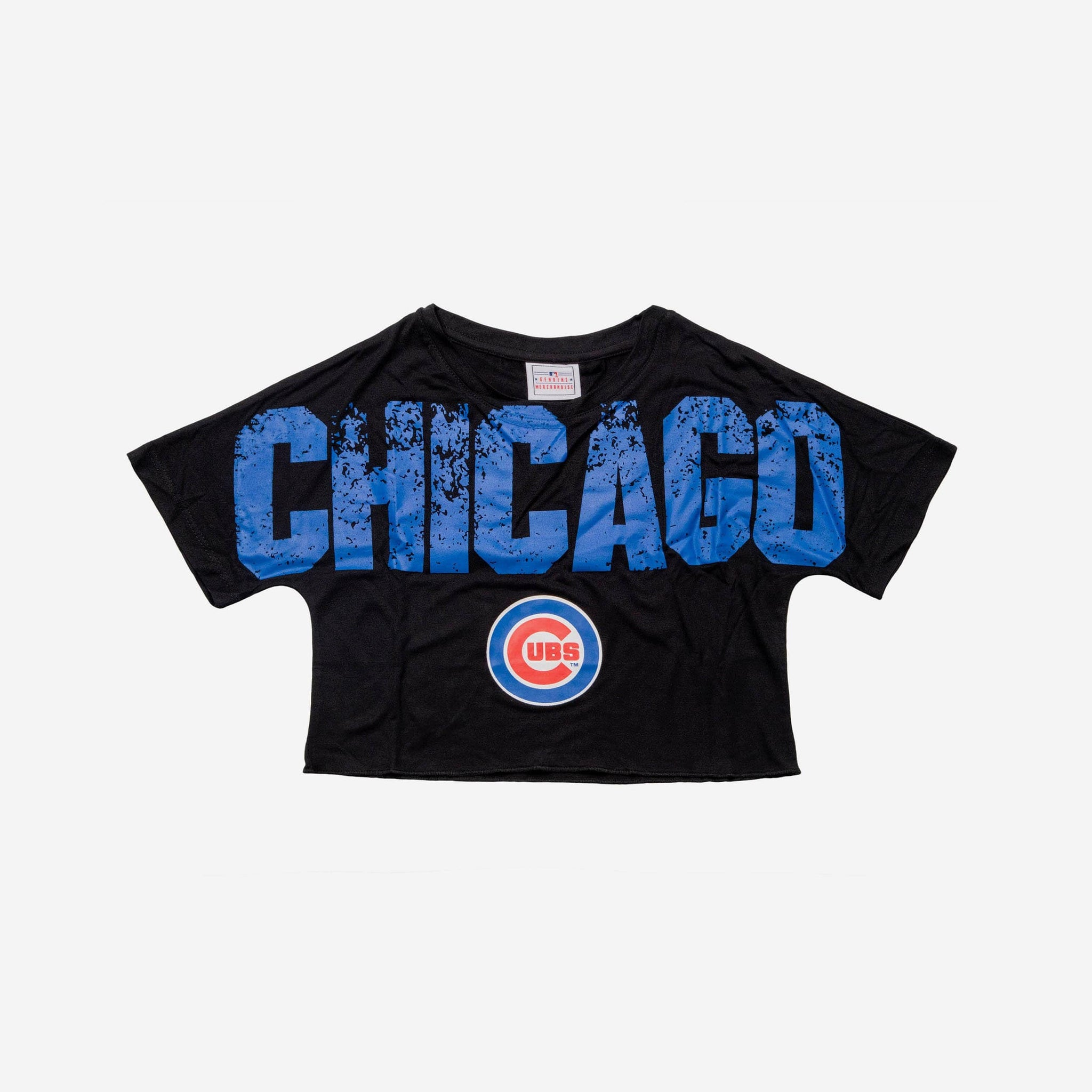 0d6afcdc8fe Chicago Cubs Womens Distressed Wordmark Crop Top FOCO - FOCO.com