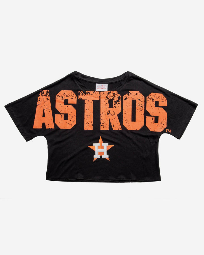 quality design 9b0e9 83951 Houston Astros Womens Distressed Wordmark Crop Top