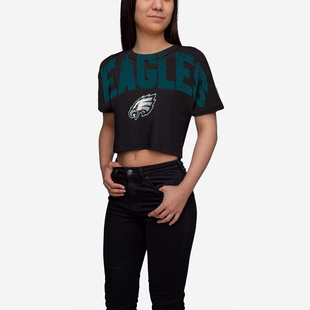 Philadelphia Eagles Womens Distressed Wordmark Crop Top FOCO - FOCO.com