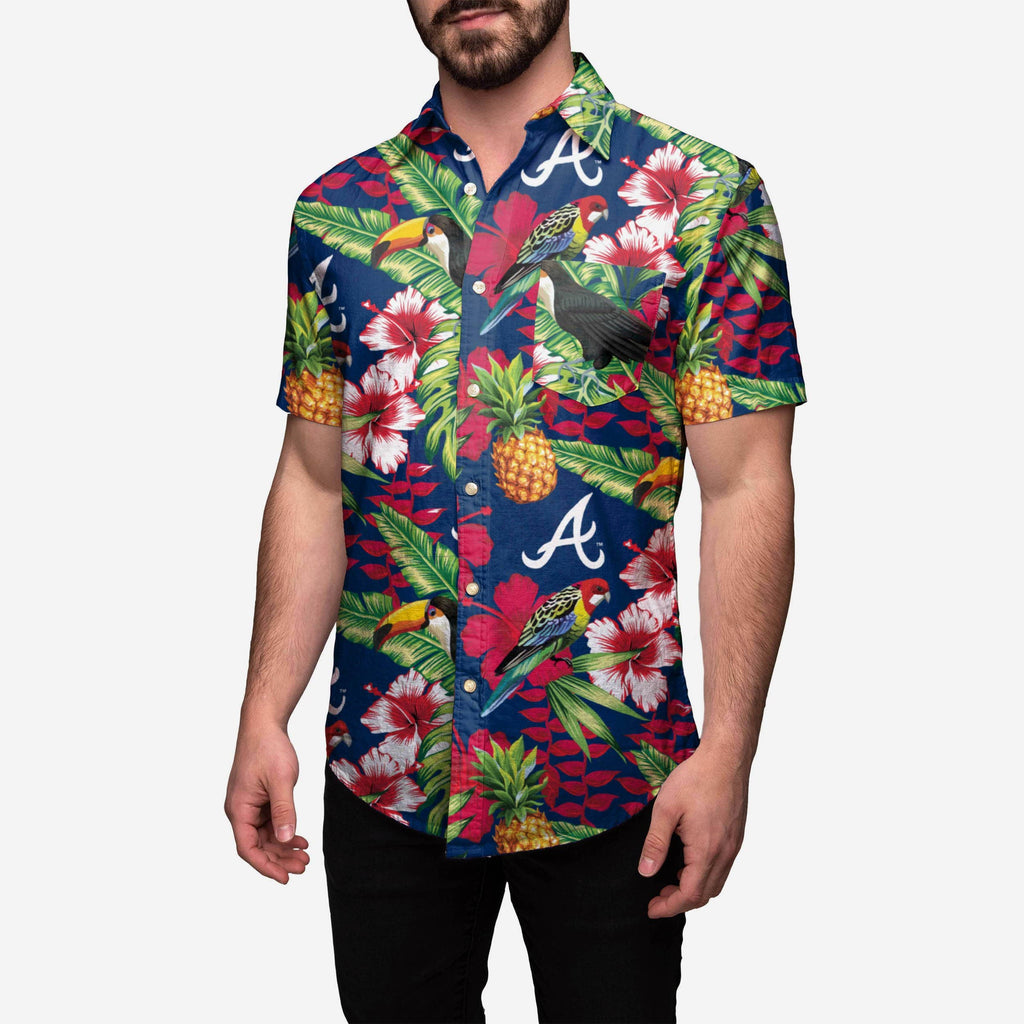 Atlanta Braves Floral Button Up Shirt FOCO - FOCO.com