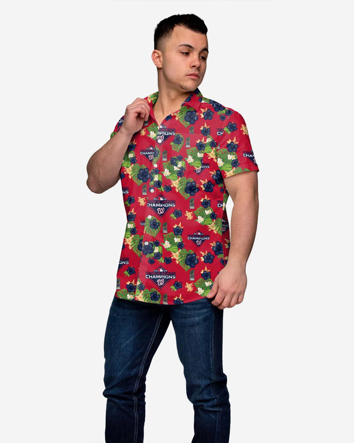 Washington Nationals 2019 World Series Champions Floral Button Up Shirt FOCO - FOCO.com