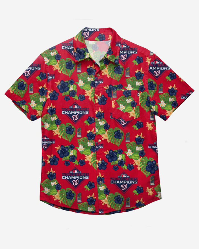 Washington Nationals 2019 World Series Champions Floral Button Up Shirt FOCO S - FOCO.com