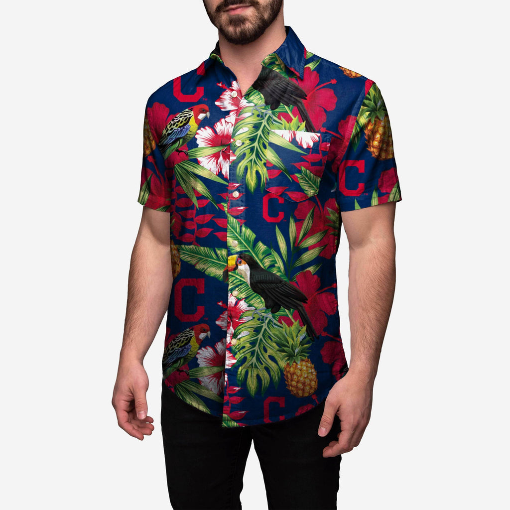 Cleveland Indians Floral Button Up Shirt FOCO S - FOCO.com