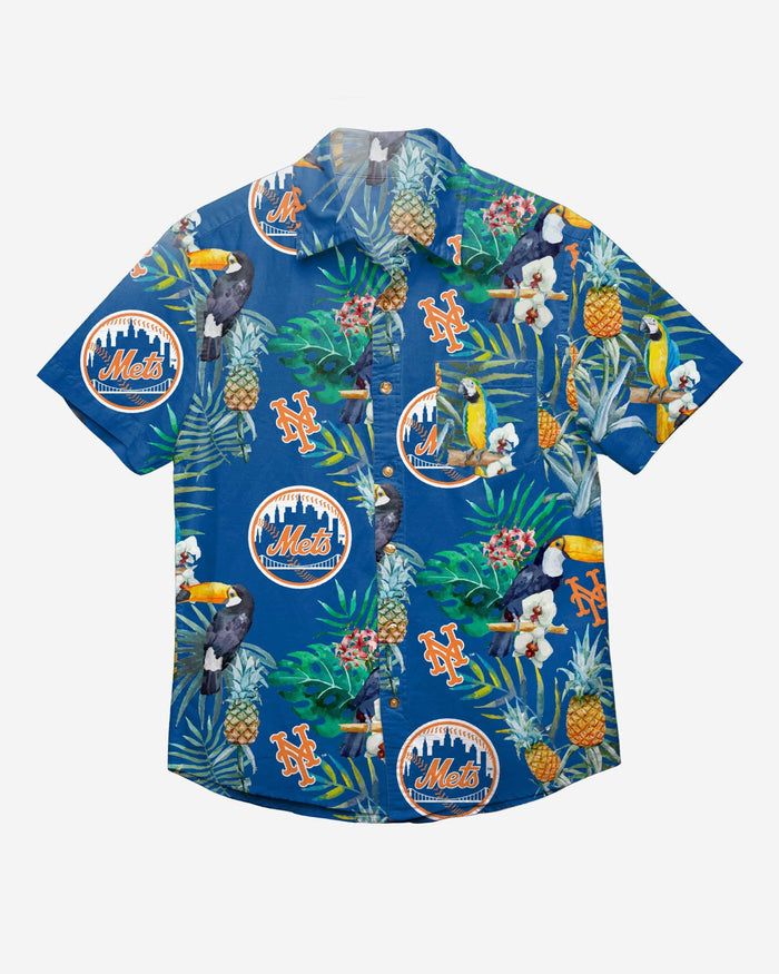 New York Mets Floral Button Up Shirt FOCO - FOCO.com