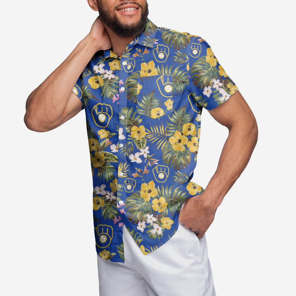 Milwaukee Brewers Throwback Threads Button Up Shirt FOCO - FOCO.com