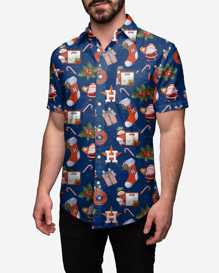 Houston Astros Christmas Explosion Button Up Shirt FOCO 2XL - FOCO.com