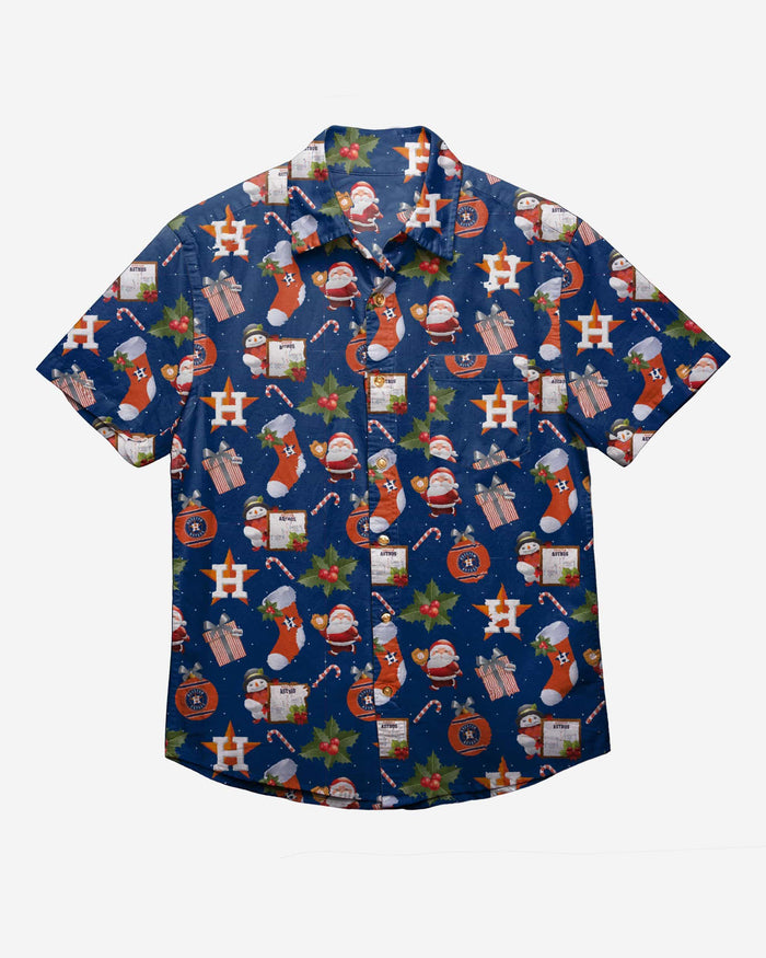 Houston Astros Christmas Explosion Button Up Shirt FOCO - FOCO.com