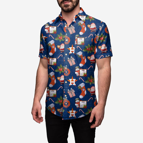 Houston Astros Christmas Explosion Button Up Shirt