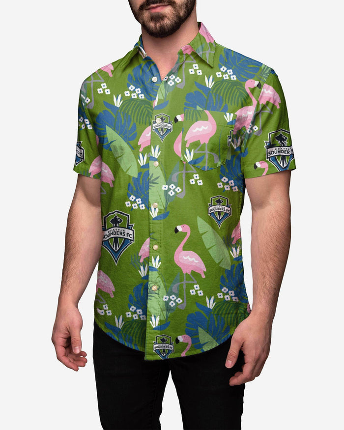 Seattle Sounders FC Floral Button Up Shirt FOCO S - FOCO.com