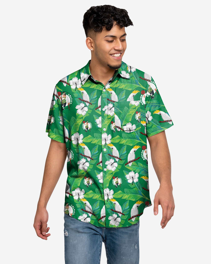 Boston Celtics Floral Button Up Shirt FOCO 2XL - FOCO.com