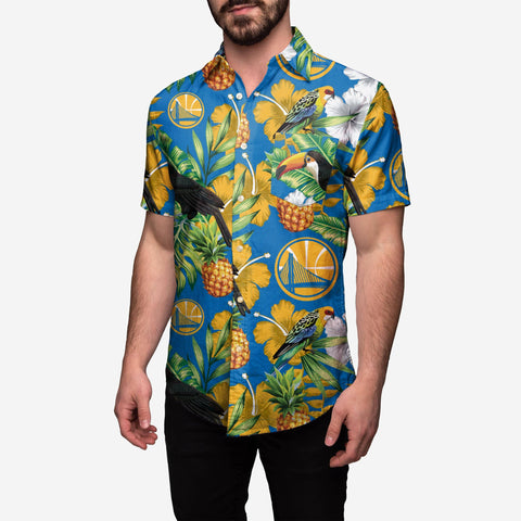 Golden State Warriors Floral Button Up Shirt