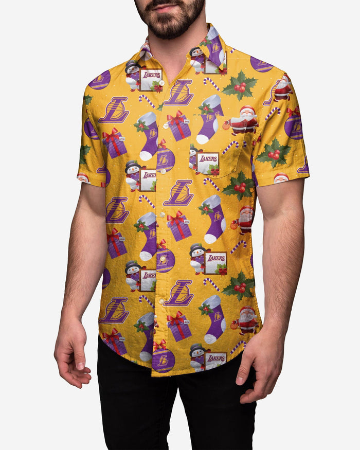 Los Angeles Lakers Christmas Explosion Button Up Shirt FOCO S - FOCO.com